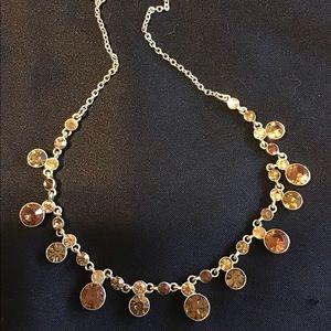 Jewelry - Vintage chocker necklace brown & gold rhinestones